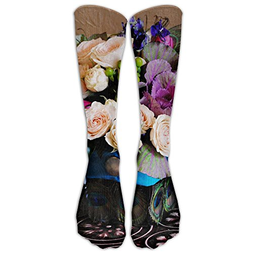 Peacock Arrangement Compression Sports Socks Unisex Novelty Knee High Socks Athletic Tube Stockings