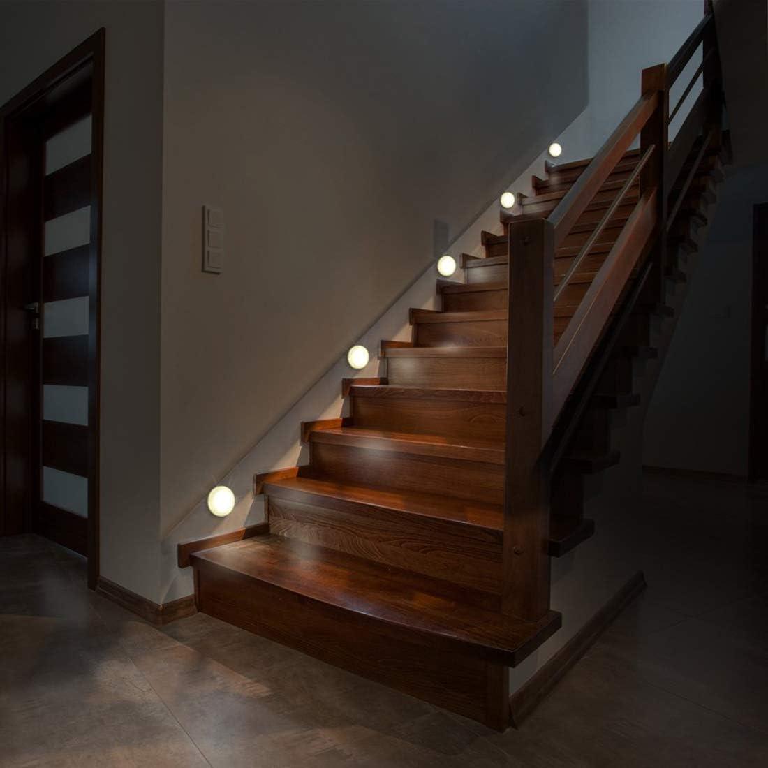 Sensor de movimiento de luz nocturna LED alimentada por batería, luces de escalera, clóset, iluminación debajo del gabinete, lámpara para casa, cocina, pasillo, armario, escaleras, baño, paquete de 3: Amazon.es: Iluminación