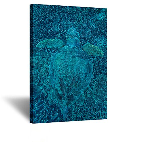 Kreative Arts - Green Turtle Hidden in Coral Canvas Prints Sea Wall Art Underwater Sea Painting Print On Canvas Animal Pictures Framed Artwork for Home Office Decoration Gift 24x36inch