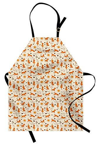 - Ambesonne Cat Apron, Do Yoga Be Happy Theme Orange Cats in Positions Smiling Suns Paws Prints Hearts, Unisex Kitchen Bib Apron with Adjustable Neck for Cooking Baking Gardening, Cream Orange Brown