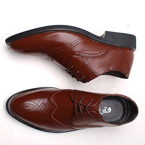 Rismart Herren Uniform- & Berufsschuhe Büro Brogue Schnürsenkel Leder Oxford Shoes SN16856(Braun,EU40)