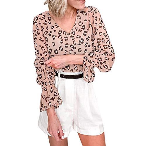 RIUDA Women's Elegant Down V Neck Tank Tops Loose Casual Long Flare Sleeve Tops Leopard Print Loose Chiffon Blouse Khaki (Polo Horse Cookie Cutter)