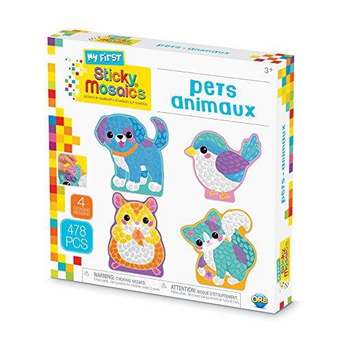 The Orb Factory Sticky Mosaics My First Pets Arts & Crafts, Teal/Yellow/Blue/Pink/Purple, 9.5