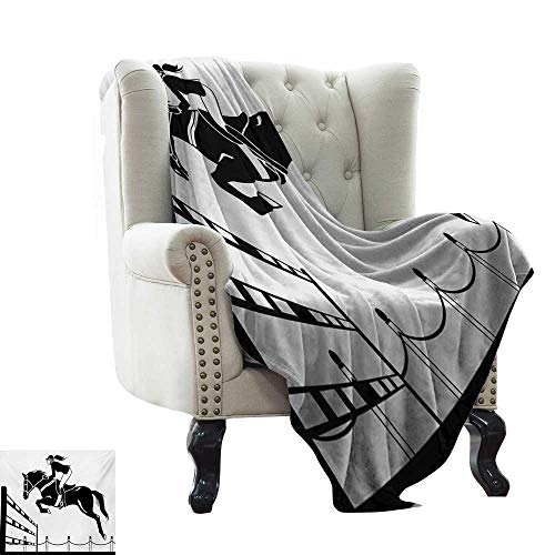 LsWOW Digital Printing Blanket Cartoon,Racing Horse with a Jockey Girl Jumping Above Barrier Barn Farming Image Print,Black and White Lightweight Microfiber,All Season for Couch or Bed -