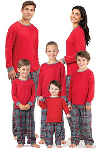 PajamaGram Matching Family Pajamas Flannel - Plaid, Gray, Women's, L, 12-14 -