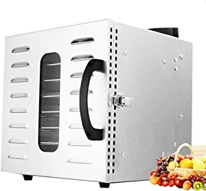 110V/220V 17L Fruit dryer 8 trays Stainless steel Food Dehydrator 1000W Professional Adjustable Temperature Control and 0~24 Hours Digital Timer Food Dryer Household (220V, UK Plug)