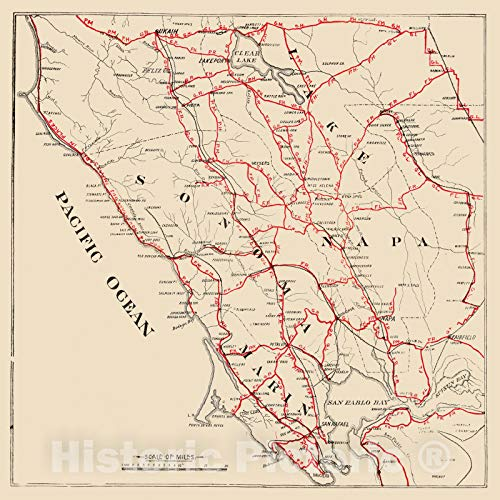 Historic Map   Guide Book, Sonoma, Marin, Lake, and Napa Counties. 1896   Vintage Wall Art   44in x 44in