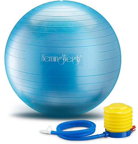 HemingWeigh Static Strength Exercise Stability Ball with Foot Pump | Perfect For...