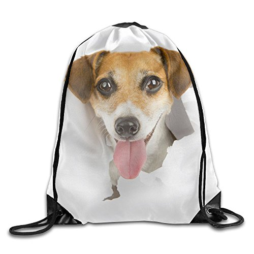 ZhiqianDF Smiling Dog Looking Out From A Hole In A Paper Poster Advertising Banner White Place For Your Text Shopping White Daypacks One Size Polyester Drawstring - In Cleveland Shopping Ohio
