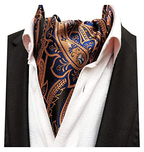 MENDENG Men's Orange Navy Paisley Woven Silk Cravat Necktie Scarf Formal ()