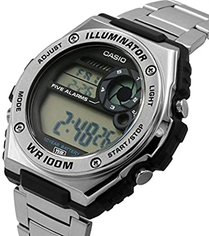 Casio Men's Digital Quartz Watch with Stainless Steel Strap MWD-100HD-1AVEF:  Amazon.co.uk: Watches