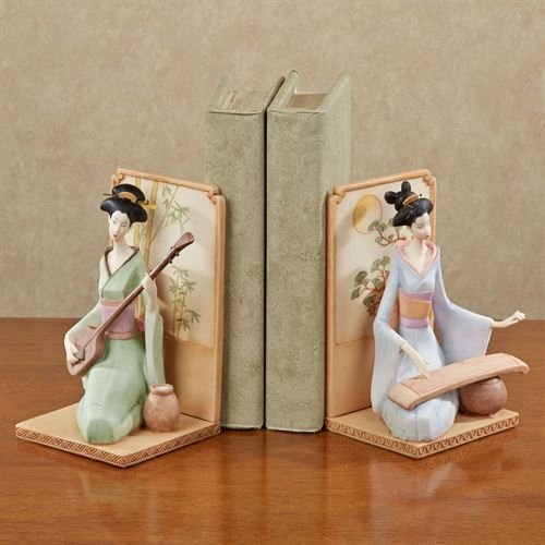 Touch of Class Geisha Girls Bookend Pair Multi Pastel