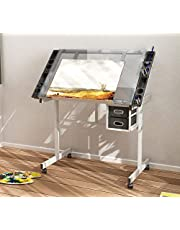 SDHYL Drafting Table, Adjustable Glass Drawing Table with 2 Drawers, Art Desk Art Table with Storage, Student Desk Study Desk for Painting, Writing and Studying, Art Craft Supplies