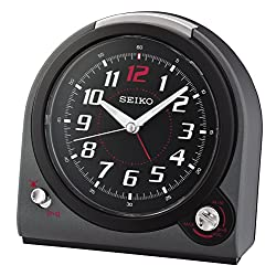 Seiko Selectable Bell/Beep Alarm Clock with Volume Control - Black