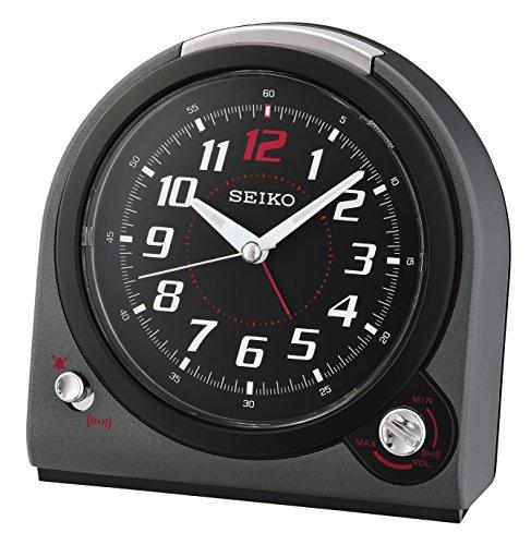 (Seiko Selectable Bell/Beep Alarm Clock with Volume Control - Black)