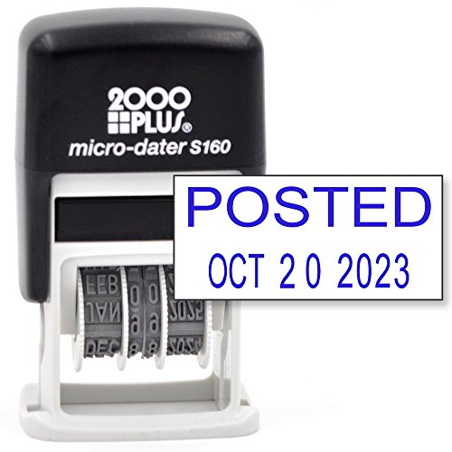 Cosco 2000 PLUS Self-Inking Rubber Date Office Stamp with POSTED Phrase & Date - BLUE INK (Micro-Dater 160), 12-Year Band