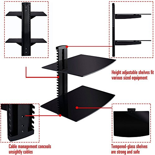 2 Tier 2 Dual Glass Shelf Wall Mount Cantilever Bracket Under TV Component Cable DVR/DVD