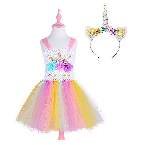 Girls Rainbow Tutu Dress Toddler Kids Unicorn Princess Dresses Costume Clothes