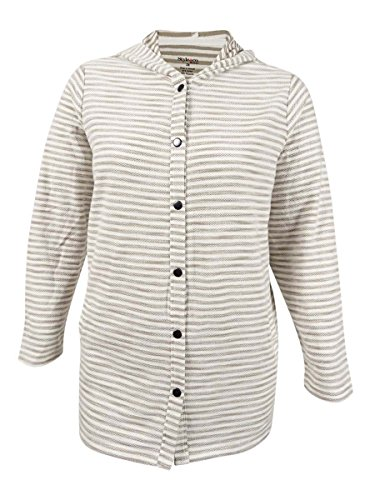 Style & Co. Plus Size Striped Hooded Sweater,Summer Straw,2X