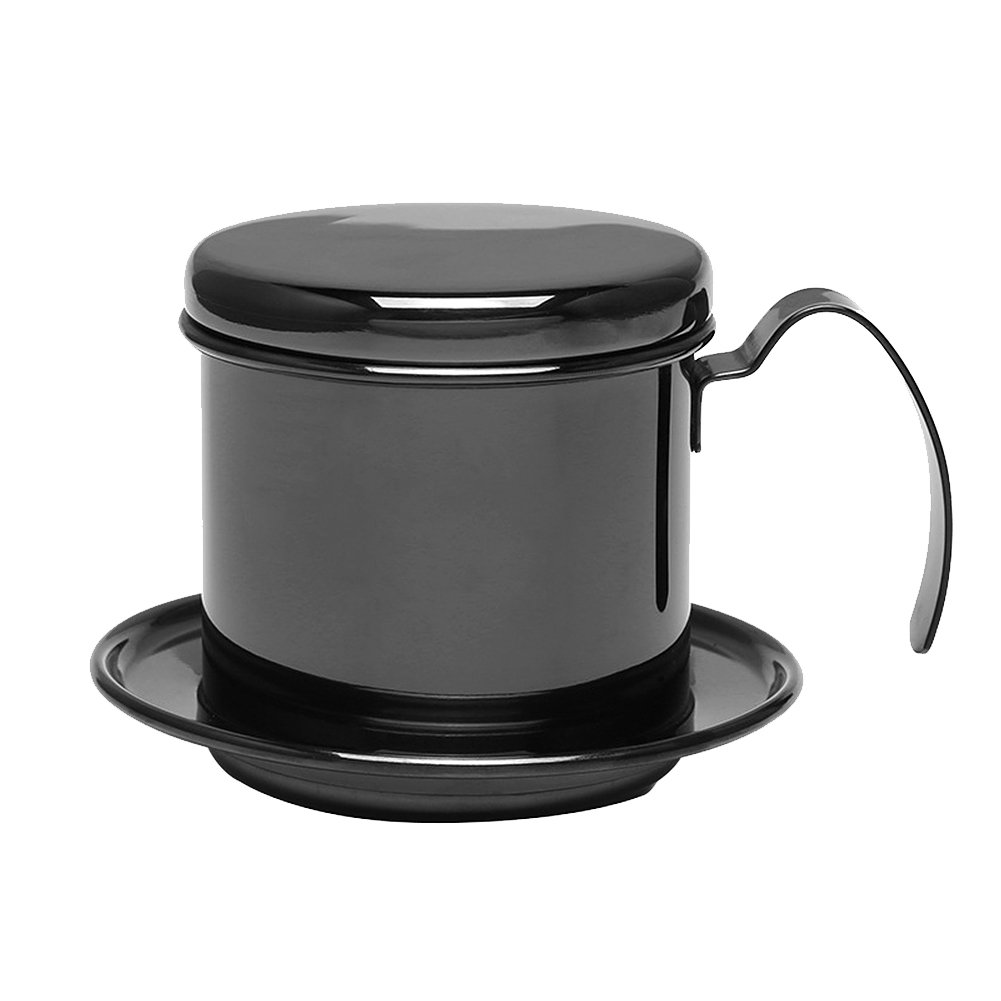 Stainless Steel Cup Vietnamese Coffee Drip Filter Maker Phin Infuser (Black)