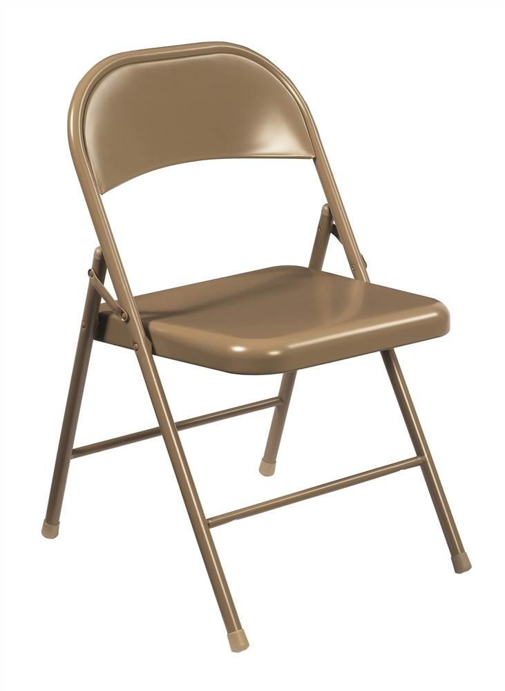 (4 Pack) National Public Seating 901 Commercialine Steel Folding Chair, Beige