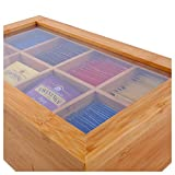 Ecbanli Bamboo Tea Box with Small Drawer, Taller