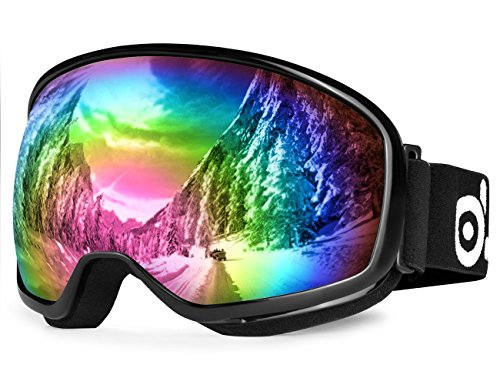 Odoland Large Spherical Ski Goggles for Youth Age 8-16, OTG Goggles for Sunny and Cloudy Days, S2 Double Anti-Fog Lens with UV400 Protection, Black