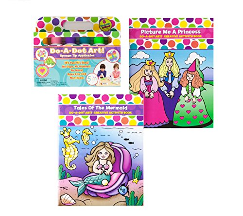 Do A Dot Art! Brilliant 6-Pack Washable Markers With Tales of the Mermaid and Pricture Me a Princess Creative Activity and Coloring Books