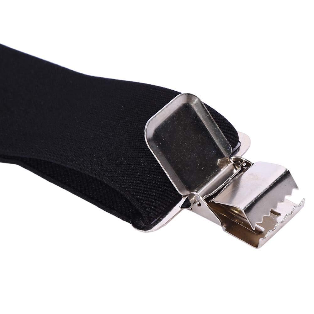 schwarz 4 Starken Clips Verstellbare M/änner Hosentr/äger 50mm X-Form Elastische Hosentr/äger
