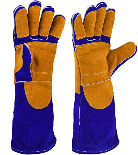 Glove Tig Welder Mig (NKTM Leather Welding Gloves EXTREME HEAT RESISTANT & WEAR RESISTANT - For Tig Welders/Mig/Fireplace/Stove/BBQ/Gardening, Blue - 16In)