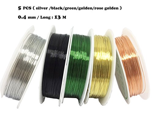 levylisa Silver / Gold/ Black/Green /Rose Gold 5 Roll Beading Wire,Roll Copper Beading Wire,Copper Metal Wire Craft Jewelry Making Finding Crafts,Filigree Wire, Jewellery Wire,Enameled Copper Wire (Enameled Cuff)