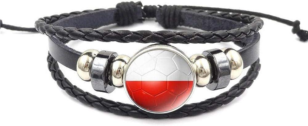 xinxin24 World Cup Football Time Gemstone Bracelet Hecho A Mano De Múltiples Capas De Joyería con Cuentas Tejidas