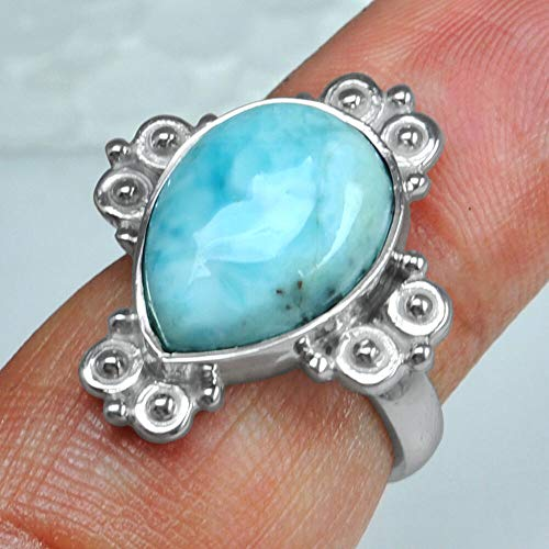 5.45 Gm 925 Sterling Silver Natural Pear Design Larimar Rings 6 Jewelry #KD-2261