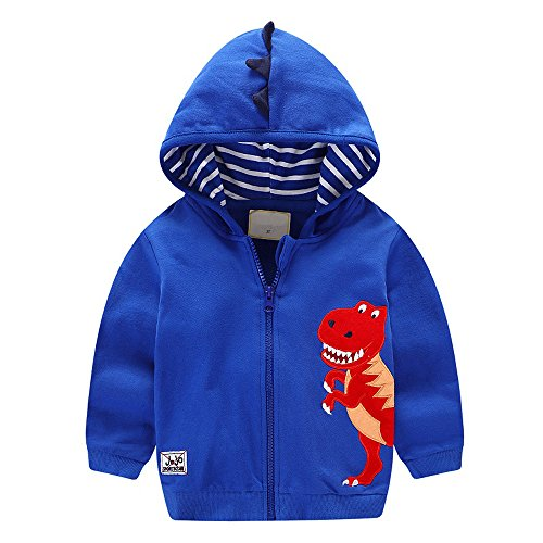 HUAER& Baby Boys' Cotton Cartoon Dinosaur Zip Front Jacket Hoodie Sweatshirt (4-5T(height110-120cm/42-46inch), Blue)