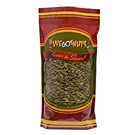 We Got Nuts Pumpkin Seeds- Pepitas (Raw) (No Shell) 5LB In Resalable Bag 14  HEALTHY SNACKING EVERYWHERE: Trying to balance your diet? Looking for yummy yet low-calorie snacks? If so, then our pumpkin seeds bag is the way to go. Mix and match these delicious pepitas with other nuts or food and stay energised all day long!  CRUNCHY YET SOFT PEPITAS: Forget all about same old snacks and salted nuts and try these tasty pumpkin seeds today! Being raw and with no shells, allows you to enjoy a healthy snack on the go. They are crunchy yet soft, having a sweet and chewy texture.  PACKED WITH MINERALS, NUTRIENTS & VITAMINS: Did you know that pumpkin seeds are a natural source of vitamins, minerals and amino acids? If not, then you should keep on reading. Boost your metabolism and guard your immune system while enjoying our pepitas.