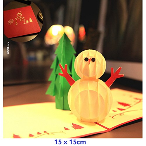 Nacodex 3D Christmas Holiday Greeting POP UP Card for Xmas - Snowman Christmas Sled Card - Envelopes Included