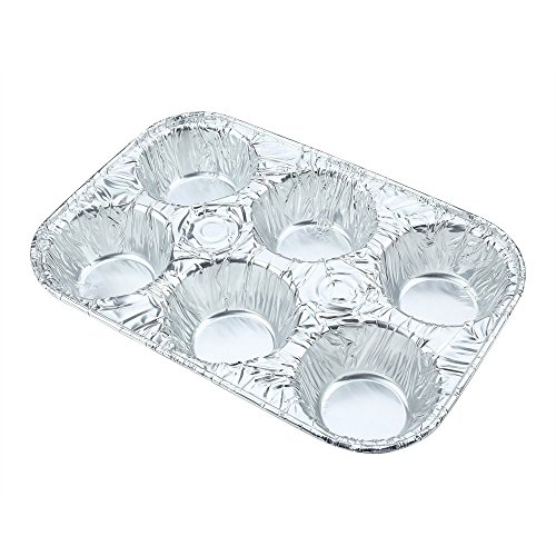 Sherri Lynne Home Disposable Aluminum Foil 6-Cup Cupcake Pans, Standard Size, Favorite Muffin Tin Size for Baking Cupcakes, Muffins, Tarts, Mini Quiches, and Mini Pies, 20 Count