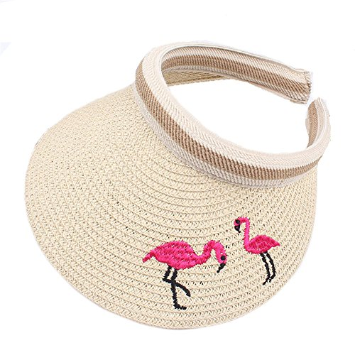 BIBITIME Straw Hat Flamingo Embroidered Sunhat for Kids 3-8 Years Open Top Cap (Beige, One Size)