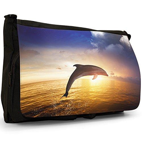 In nbsp; Fancy Nero Tracolla Tela A Snuggle Messenger Grande Delfini qwfp4RwO
