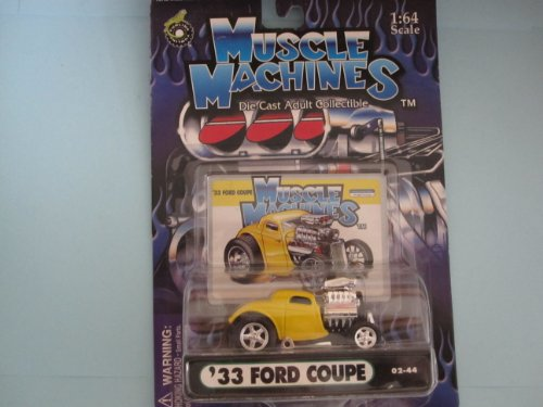 33 Ford Coupe Yellow with Head Scoop By Muscle Machines 1:64 Scale