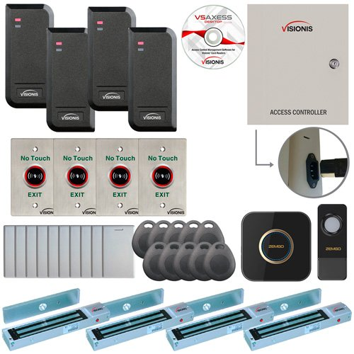 Visionis FPC-6205 Four Door Access Control TCP/IP RS-485 Wiegand for Outswing Door Electric 600lbs MagLock Controller Box, Power Supply, Black Indoor/Outdoor Card Reader, Software 10,000 Users Kit (Rs Control 485)