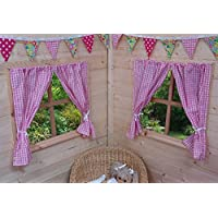 PLAYHOUSE CURTAINS ~ TRADITIONAL PINK GINGHAM ~ WITH TIE-BACKS & FITTINGS ~ WENDY HOUSE DECORATION