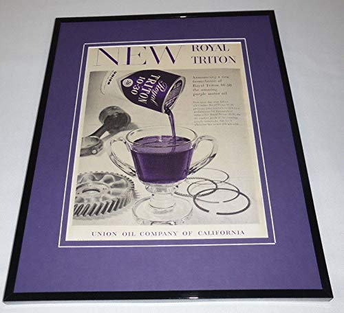 1957 Union Oil Purple Royal Triton Framed 11x14 ORIGINAL Vintage Advertisement