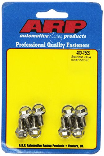 (ARP 4007505 Hex Style Valve Cover Bolts, Polished Stainless Steel, Package Of 8, For Select Stamped Steel Covers)
