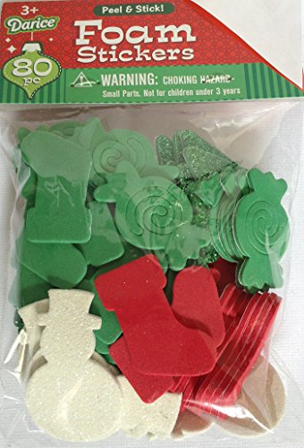 (Christmas Foam Stickers 80 Pieces Stockings, Snowman, Peppermint, Snowflakes Christmas Tree)