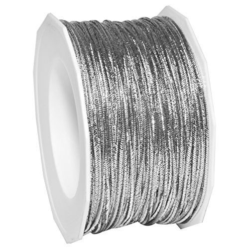 Silver Polyester Ribbon (Morex Ribbon 1318/50-631 Stretch Cord Polyester Ribbon, 50 yd, Silver)