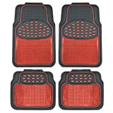 #8: BDK Metallic Rubber Floor Mats for Car SUV & Truck - Semi Trimmable, 2 Tone Color Heavy Duty Protection(Red/Black)