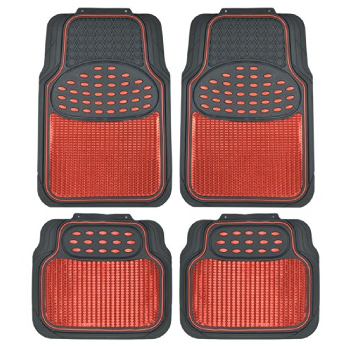 (BDK Metallic Rubber Floor Mats for Car SUV & Truck - Semi Trimmable, 2 Tone Color Heavy Duty Protection(Red/Black))
