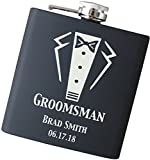 Personalized Wedding Flask Engraved, Will You Be My Groomsman? Hip Flask in Your Choice of Colors - F49-C