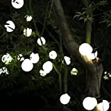Peaubogo 8.35ft/2.5M 10LED Solar String Light Bulbs, Garden Solar Fairy Lights Patio Lights Outdoor Xmas Fairy Decorative Lamp Warm White